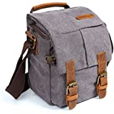 Waterproof Canvas Leather Trim DSLR SLR Shockproof Camera Shoulder Messenger Bag­