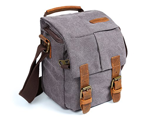 Waterproof Canvas Leather Trim DSLR SLR Shockproof Camera Sh