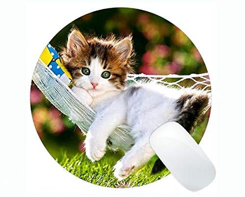Gaming Round Mouse pad,Hammock Kitten Animal Cute cat Grass Round Mouse pad,Mouse mat for Computer cat093]()