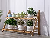 Bamboo flower rack / living room solid wood multi-layer folding plant frame / balcony flower pot shelf ( Size : 802753cm )