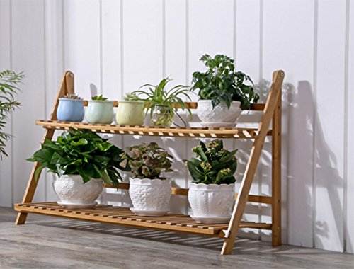 Bamboo flower rack / living room solid wood multi-layer folding plant frame / balcony flower pot shelf ( Size : 802753cm ) by Flower racks - xin