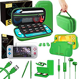 Orzly Switch Lite Accessories Bundle - Case & Screen Protector for Nintendo Switch Lite Console, USB Cable, Games Holder, Comfort Grip Case, Headphones, Thumb-Grip Pack & More - Green