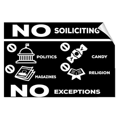 chengdar732 Label Decal Sticker No Soliciting Politics Magazines Candy Religion No Exception 10 inches x 7 inches