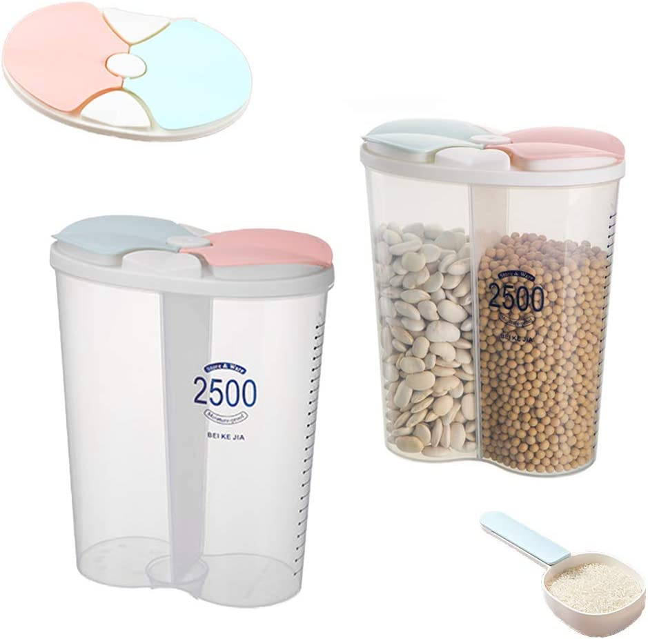 Grain Storage Container, Plastic Sealed Dry Food Storage Container with Lid, with Lid and Partition, for Grain, Sugar, Flour, Rice, Nuts, Coffee Beans (2.5 Liters) (2 Cells)