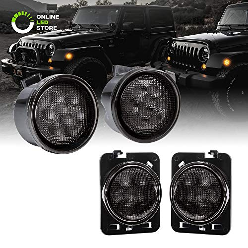 (Smoked Lens Amber LED 4pc Kit [Turn Signal Light w/DRL] + [Side Marker Light] for 2007-2018 Jeep Wrangler JK & Unlimited)
