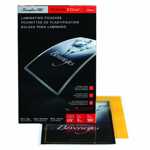 - Swingline GBC Thermal Laminating Sheets / Pouches, Menu Size, 3 Mil, EZUse, 100-Count (3200720)