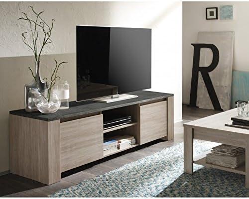 Mueble para televisor madera de roble, diseño moderno, granito o ...