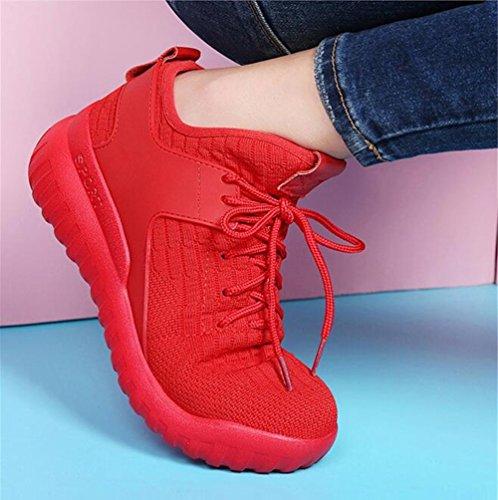 Zapatillas Deporte Zapatos Baja Mujer Cuero de de de Nuevas Respirables 2018 Zapatos Un Ocasionales Zapatos con Cordones de Otoño Primavera Mujer Boca de wxYUgxqZI