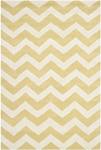 Light Gold Area Rug (Safavieh Chatham Collection CHT715L Handmade Light Gold and Ivory Premium Wool Area Rug (4' x 6'))