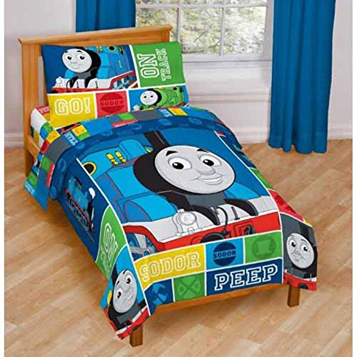 (Jay Franco Nickelodeon Thomas & Friends 4 Piece Toddler Bed Set – Super Soft Microfiber Bed Set Includes Toddler Size Comforter & Sheet Set – Bedding Features Thomas (Official Nickelodeon Product))