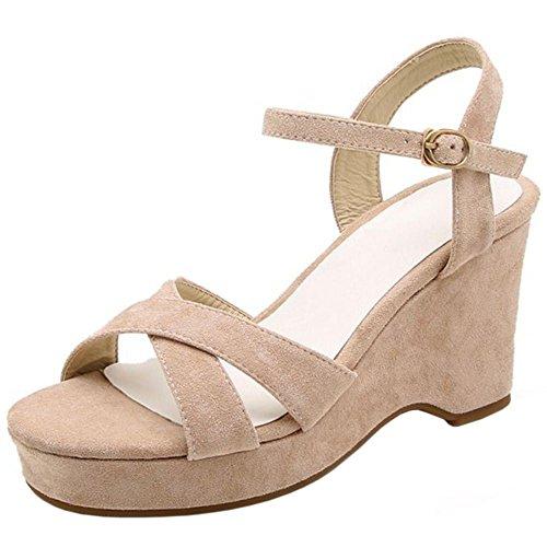 RAZAMAZA Beige Classique 1 Chaussures Bout Compensées Ouvert Sandales Femmes ZZ6xqrpg