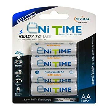 Yuasa Enitime AA Pre-Charged Rechargeable Batteries (4-Pack)