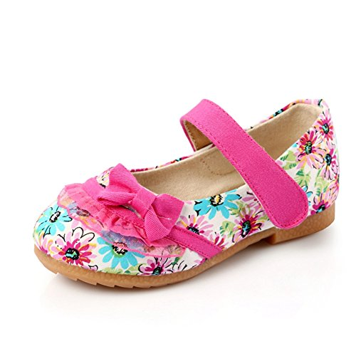 T-JULY Girls Sunshine Flower Canvas Mary Jane Shoes Bowknot Ballet Flats (Toddler/Little Kid) Rose Red ()