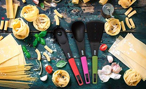 HULLR 7-Piece Kitchen Utensils Cooking Set - Spaghetti Server, Egg Whisk, Turner, Server, Soup Ladle, Solid & Slotted Spoon.
