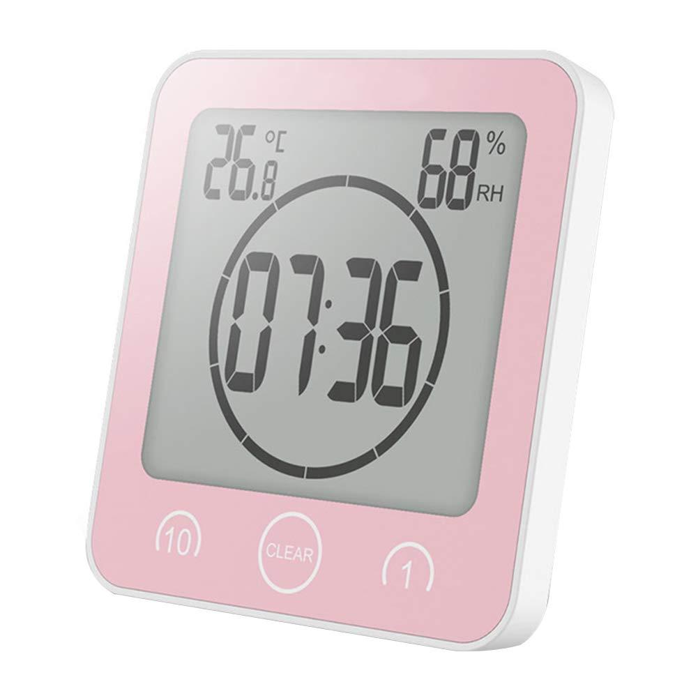 NAttnJf Thermometer Hygrometer Wecker Digitale Dusche Uhr Dusche Wand Saugnapf Stand Countdown Temperatur Luftfeuchtigkeit Bad Digitaluhr Blau