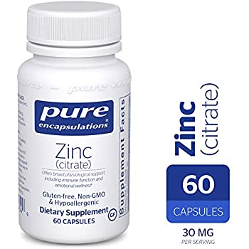 Pure Encapsulations - Zinc (Citrate) - Highly Bioavailable and Hypoallergenic Supplement for Immune Support and Prostate Function* - 60 Capsules