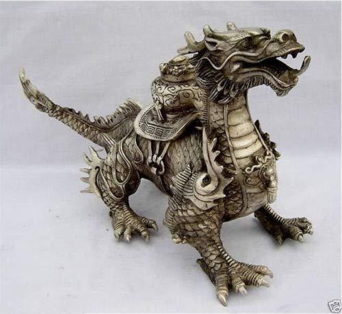 BeesClover Huge Tibetan Silver Luck Dragon Statue Tools Wedding Decoration Brass Brass Show