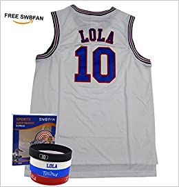 38f4cb355c3 Space Jam Jersey #10 Lola Bunny Tune Squad Basketball Jerseys Movie Inspired  - Looney Tunes Design Include Swbfan Box Of 4 Free Themed Wristbands  (White, ...
