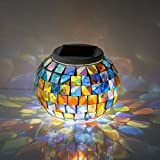 Cheap AIQI Solar Powered Mosaic Glass Ball Garden Lights, Color Changing Solar Table Lamps, Waterproof Outdoor Solar Lawn for Festival Gifts Indoor or Outdoor Decorations