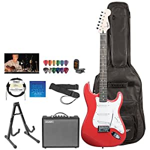squier by fender red electric guitar with stand strap strings gig bag tuner pick. Black Bedroom Furniture Sets. Home Design Ideas