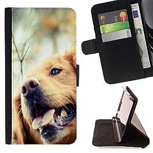 Momo Phone Case / Flip Funda de Cuero Case Cover - Golden Retriever perro canino Mascota; - HTC One A9