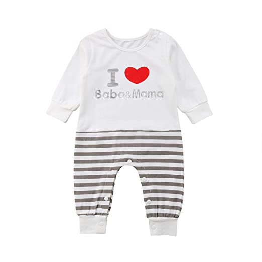 db5d055920b0 Newborn Baby Boy Girl Rompers Clothes I Love Baba Mama Stripes Jumpsuits  Pajamas Playsuit (Grey White