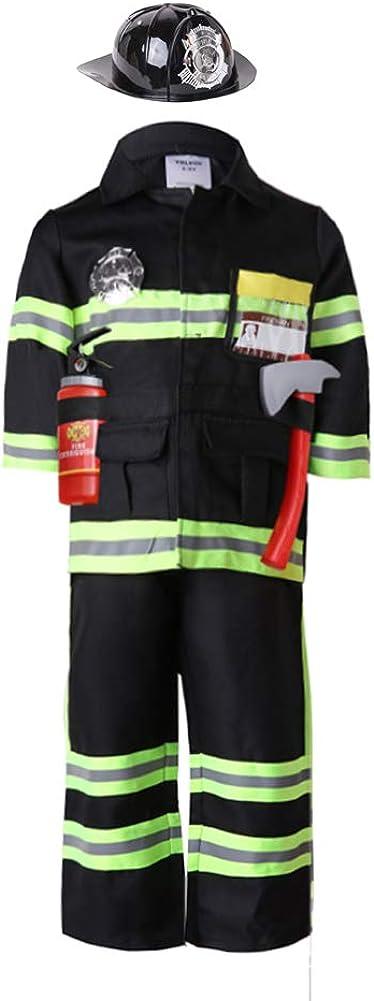 yolsun Black Fireman Costume for Kids, Boys' and Girls' Firefighter Dress up