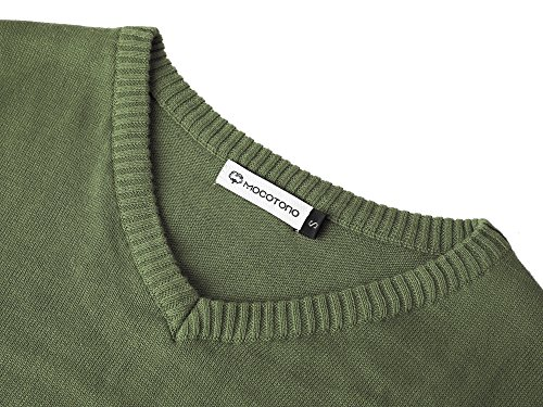 MOCOTONO Men's V-Neck Cotton Sleeveless Sweater Casual Vest Green Medium by MOCOTONO (Image #3)