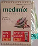 Medimix Ayurvedic Turmeric and Argan Oil Bathing Soap, 125g (Buy 4 Get 1 Free) with Face Wash, 50ml