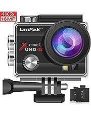 Campark Action Cam 4K WiFi Sports Action Kamera 16MP Ultra Full HD Helmkamera Wasserdicht mit Dual 1050 mAh Batterien und Kostenlose Zubehör Kits
