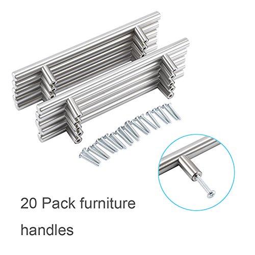 (Kitchen Door Cabinet T Bar Handle,Stainless Steel Drawer Pull Knobs Hardware Set,20 Pack)