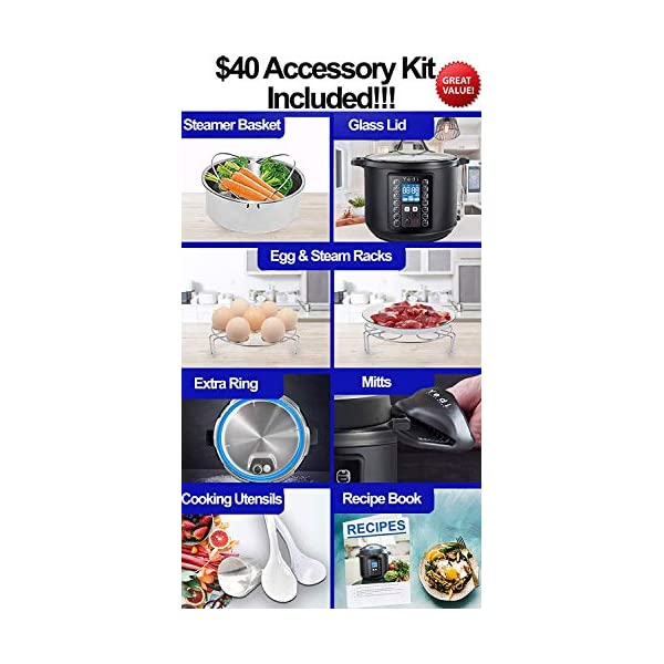 Yedi 9-in-1 Total Package Instant Programmable Pressure Cooker, 6 Quart, Deluxe Accessory kit, Recipes, Pressure Cook… 2