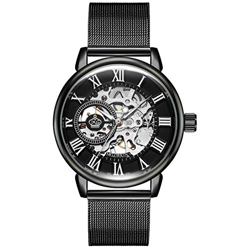 - Sweetbless Wristwatch Men's Royal Classic Roman Index Hand-wind Mechanical Watch Black-black