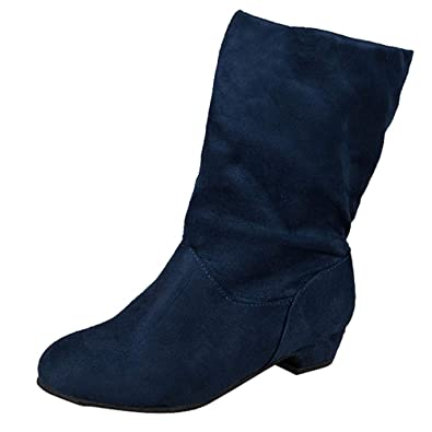 ... Womens Suede Square Heel Round Toe Middle Tube Pure Color Slip-On Martin Boots Fashion Leisure Elegant Cosy Wild Tight Super Quality for Womens | Shoes