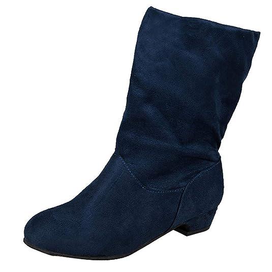 Amazon.com | JaHGDU Womens Suede Square Heel Round Toe Middle Tube Pure Color Slip-On Martin Boots Fashion Leisure Elegant Cosy Wild Tight Super Quality ...