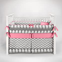 Elephant Chevron Zig Zag Gray & Bubblegum Baby Bedding - 5pc Crib Set by Sofia Bedding