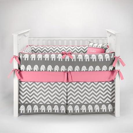Elephant Chevron Zig Zag Gray Bubblegum Baby Bedding 5pc Crib Set By Sofia Bedding