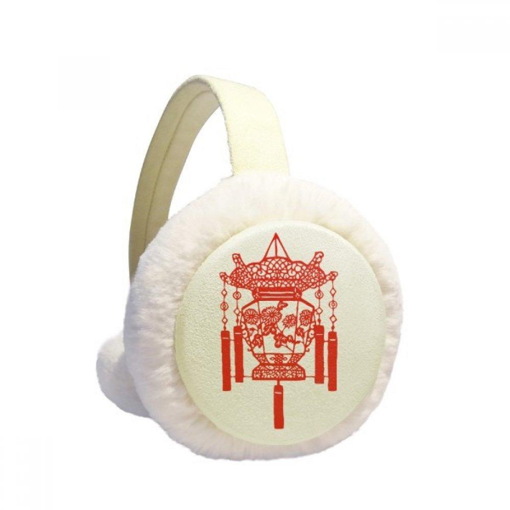 Lantern Chinese Paper Cutting Red Pattern Winter Earmuffs Ear Warmers Faux Fur Foldable Plush Outdoor Gift