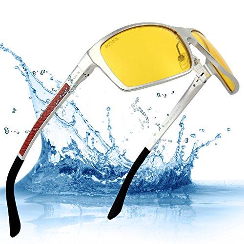HD Driving Sunglasses Polarized Glass Light Metal Frame Night Driving Polarized glasses For Men Silvery Carbon Fibre - Combat Sunglasses