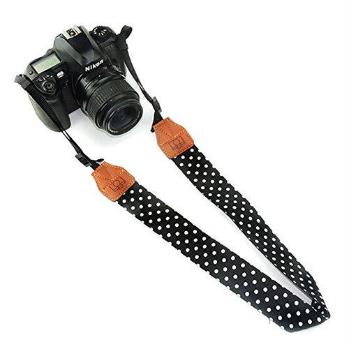 ieasysexy Camera Strap Sporty Camera Shoulder Strap Retro Camera with PU Scalp,fot the Trip,Hiking,Home and other (Black)