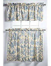 """Maison d' Hermine Miller 100% Cotton Blue Set of 3 Kitchen Window Curtain for Cafe   Kitchen   Bedroom   Home [2 Tiers (28""""X36"""") and 1 Valance (56""""X18"""")]"""