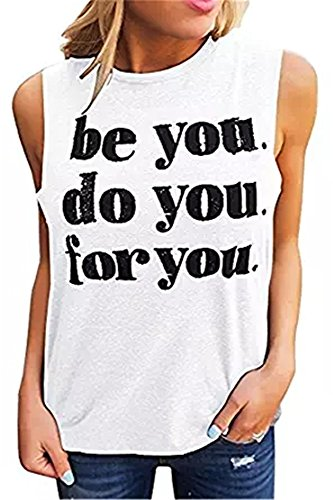 hic T Shirts Funny Tees Crew Neck Sleeveless Workout Tank Tops (S, White) ()