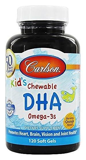 Carlson Labs - Carlson For Kids Chewable DHA Bursting Orange Flavor - 120 Softgels by Carlson Laboratories