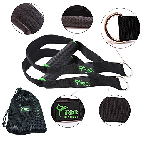 iRibit Fitness A Pair of Heavy Duty Exercise Handles for Cable Machines and Resistance Bands (Green) For Sale
