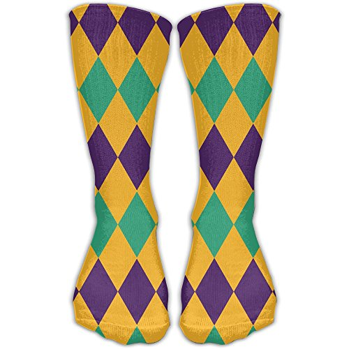 SARA NELL Men Women Classics Crew Socks Mardi Gras Jester Costume Personalized Athletic Socks 30cm Long-All Season]()