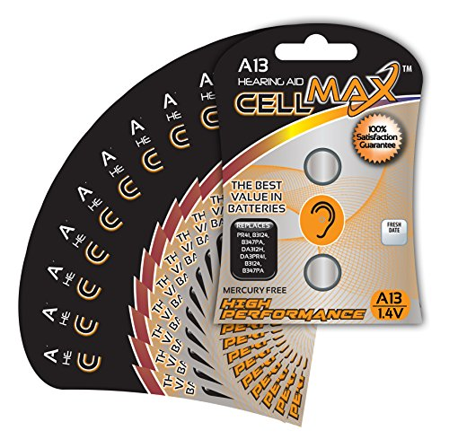 CellMax CM-A13-BP2 - (20) Zinc Air Hearing Aid A13 Batteries (10, 2-Packs) by CellMax