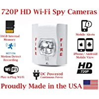 SecureGuard 720p HD WiFi Wireless IP Fire Alarm Stobe Light Hidden Security Nanny Cam Spy Camera with 16GB Memory (White)