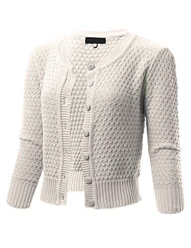 Womens Button Down 3/4 Sleeve Crewneck Cropped Knit Cardigan Crochet Sweater M Ivory