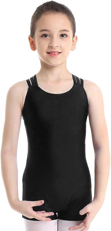 ranrann Kids Girls Sleeveless Sparkly Sequins Ballet Dance Unitard Cutout Waist Camisole Gymnastics Leotard Jumpsuits