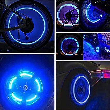 DUST CAP TYRE COLOUR LED NEON CAR BIKE WHEEL LIGHTS SAFETY WATERPROOF ANTIJITTER